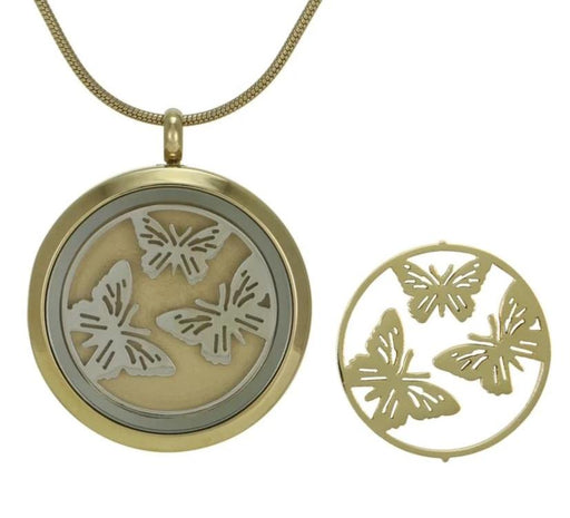 Round Pendant Butterflies Necklace Cremation Jewelry (2 inserts)-Jewelry-Terrybear-Afterlife Essentials