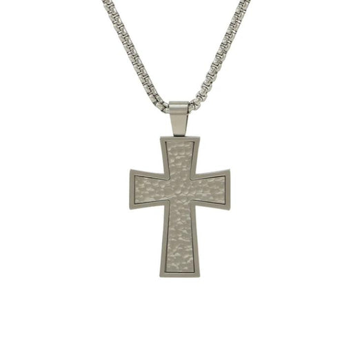 Textured Cross Necklace Cremation Jewelry-Jewelry-Terrybear-Pewter-Afterlife Essentials