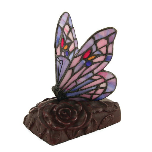 Tiffany Style LED Purple Butterfly Lamp Keepsake Cremation Urn-Cremation Urns-Terrybear-Afterlife Essentials