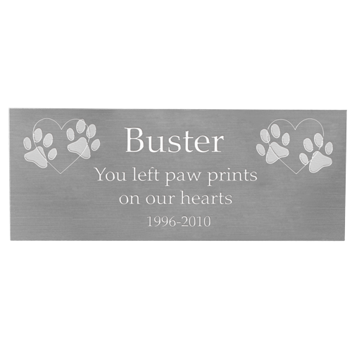 Engraved Pet Memorial Plaque- Large Silver Finish-Plaques-New Memorials-Afterlife Essentials