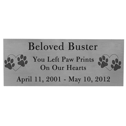 Engraved Pet Memorial Plaque- Large Silver Finish Black Fill-Plaques-New Memorials-Afterlife Essentials
