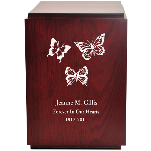 Classic Cherry Finish Wood With Engraved Butterflies 200 cu in Cremation Urn-Cremation Urns-New Memorials-Afterlife Essentials