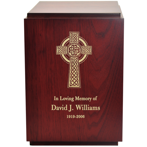 Classic Cherry Finish Wood with Engraved Celtic Cross 200 cu in Cremation Urn-Cremation Urns-New Memorials-Afterlife Essentials