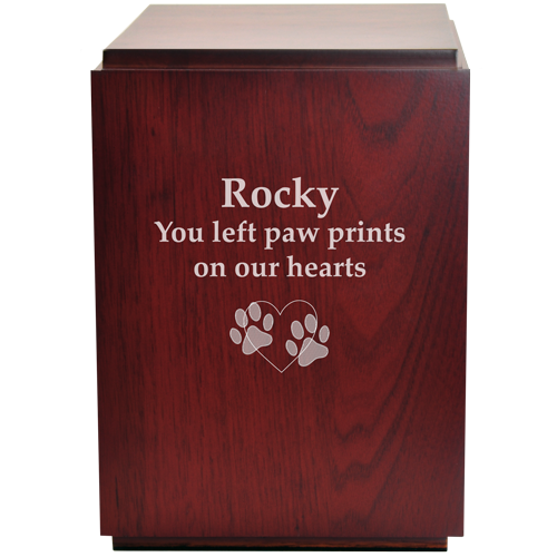 Classic Cherry Finish Wood Pet 200 cu in Cremation Urn-Cremation Urns-New Memorials-Afterlife Essentials