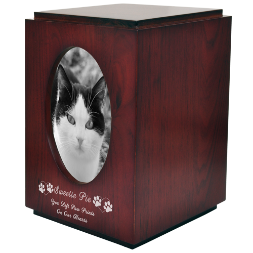 Cherry Finish with Oval Photo Frame Cat Pet 200 cu in Cremation Urn-Cremation Urns-New Memorials-Afterlife Essentials