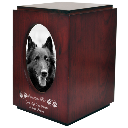 Cherry Finish with Oval Photo Frame Dog Pet 200 cu in Cremation Urn-Cremation Urns-New Memorials-Afterlife Essentials