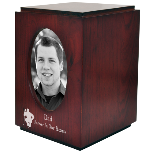 Cherry Finish Wood with Oval Photo Frame 200 cu in Cremation Urn-Cremation Urns-New Memorials-Afterlife Essentials