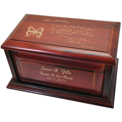 Cherry Wood Raised Panel Handwriting 240 cu in Cremation Urn-Cremation Urns-New Memorials-Afterlife Essentials