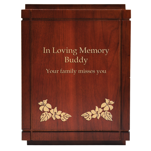 Cherry Finish Grooved Vertical Wood Pet Dog 350 cu in Cremation Urn-Cremation Urns-New Memorials-Afterlife Essentials