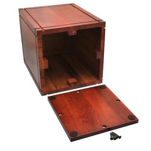 Cherry Finish Grooved Vertical Laser Wood 350 cu in Cremation Urn-Cremation Urns-New Memorials-Afterlife Essentials