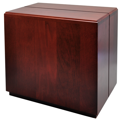 Cherry Finish Over-Sized Wood Urn- Cube 370 cu-Cremation Urns-New Memorials-Afterlife Essentials