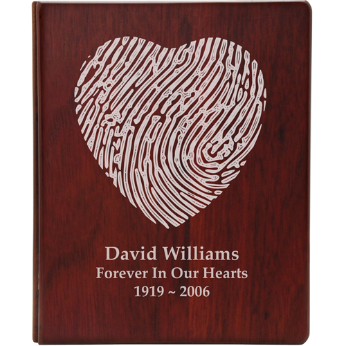 Funeral Guest Book Wooden Binder- Fingerprint Option-Accessories-New Memorials-Afterlife Essentials