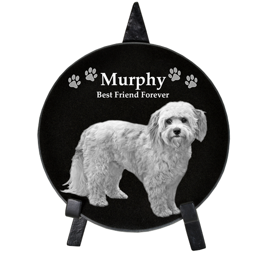 "Pet Photo Engraved Black Marble Circle 12""-Memorial Stone-New Memorials-Afterlife Essentials"