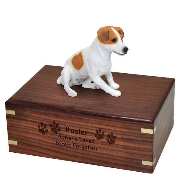 Jack Russell Terrier Sitting Pet Wood Cremation Urn-Cremation Urns-New Memorials-Afterlife Essentials