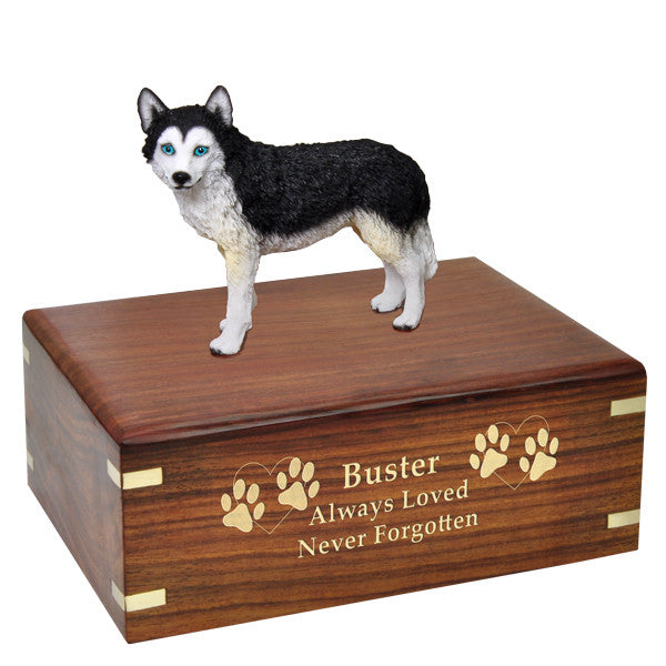 Husky Black and White Blue Eyes Pet Wood Cremation Urn-Cremation Urns-New Memorials-Afterlife Essentials