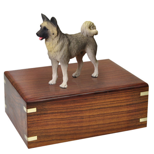 Akita Gray Pet Wood Cremation Urn-Cremation Urns-New Memorials-Afterlife Essentials