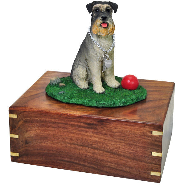 Schnauzer On Grass With Ball Pet Wood Cremation Urn-Cremation Urns-New Memorials-Large (87 cu in)-Afterlife Essentials