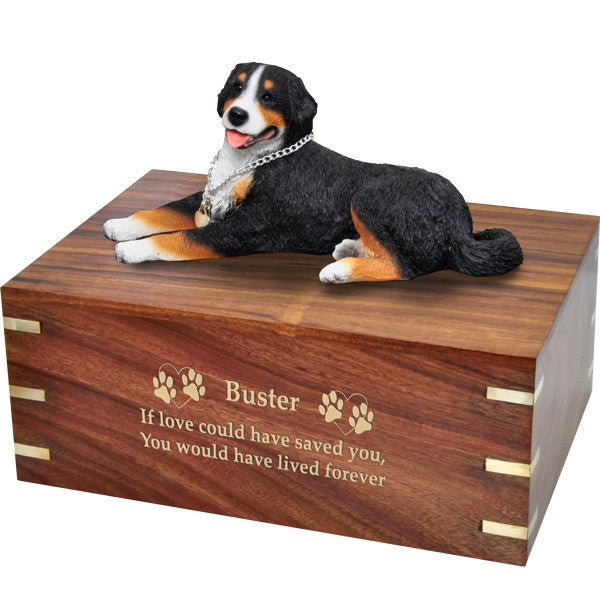 Bernese Mountain Dog Pet Wood Cremation Urn-Cremation Urns-New Memorials-Afterlife Essentials