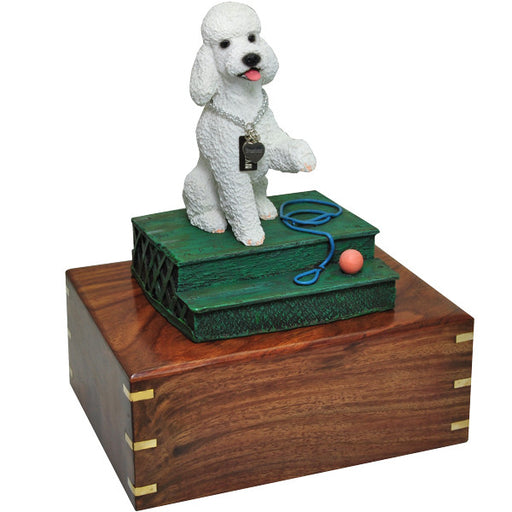 Poodle White with Sport Cut Pet Wood Cremation Urn-Cremation Urns-New Memorials-Afterlife Essentials