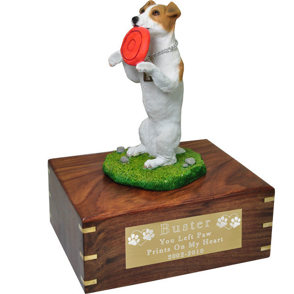 Jack Russell Terrier Playful Pet Wood Cremation Urn-Cremation Urns-New Memorials-Afterlife Essentials