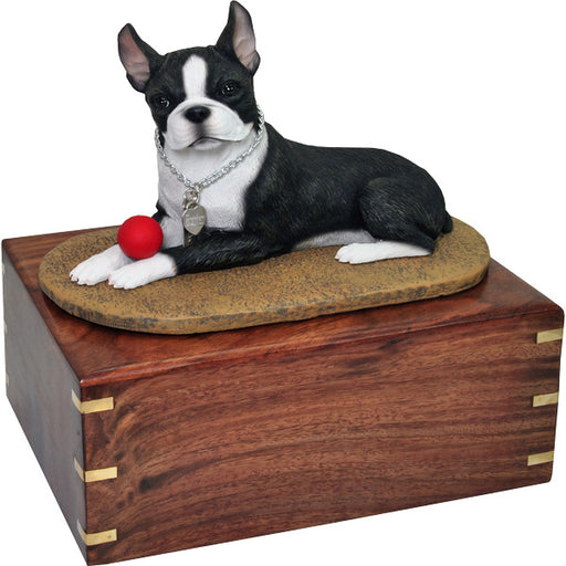 Boston Terrier with Ball Pet Wood Cremation Urn-Cremation Urns-New Memorials-Afterlife Essentials