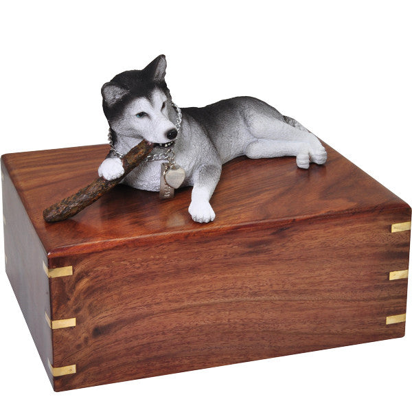 Husky With Stick Pet Wood Cremation Urn-Cremation Urns-New Memorials-Afterlife Essentials