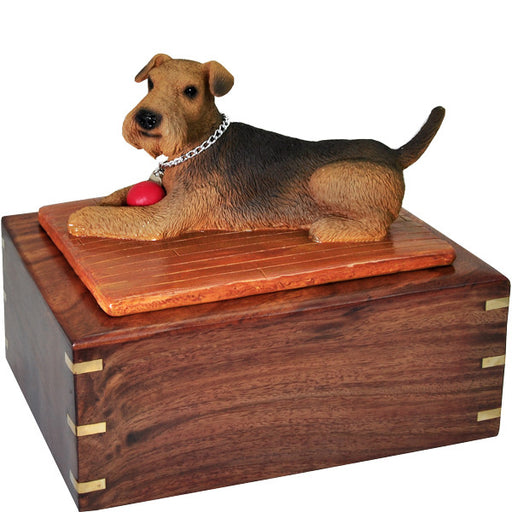 Airedale With Ball Pet Cremation Wood Urns - Afterlife Essentials
