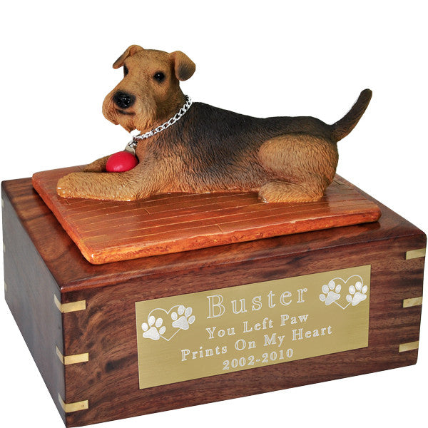 Airedale with Ball Pet Wood Cremation Urn-Cremation Urns-New Memorials-Afterlife Essentials