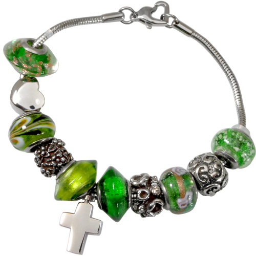 Remembrance Beads Emerald Green Charm Bracelet Cremation Jewelry-Jewelry-New Memorials-Afterlife Essentials