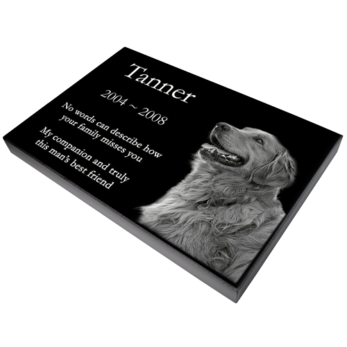 "Pet Photo Laser Engraved Granite Flat Headstone- 1"" thick-Headstones-New Memorials-Afterlife Essentials"