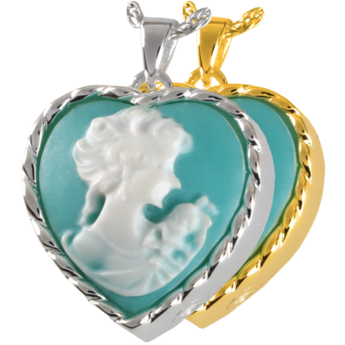 Heart Cameo Marine Green Cremation Jewelry-Jewelry-New Memorials-Free Black Satin Cord-Afterlife Essentials