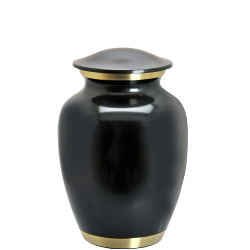 Dark Pewter Two Gold Bands Pet 60 cu in Cremation Urn-Cremation Urns-New Memorials-Afterlife Essentials