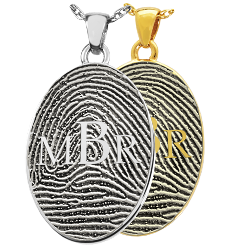 Oval Fingerprint with Monogram Cremation Jewelry-Jewelry-New Memorials-Afterlife Essentials