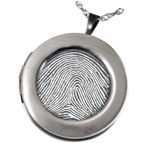 Fingerprint Sterling Silver Round Photo Locket Memorial Jewelry-Jewelry-New Memorials-Afterlife Essentials
