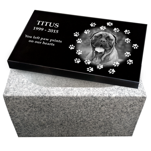 Granite Pet Photo with White Base Dog Pet 270 cu in Cremation Urn-Cremation Urns-New Memorials-Afterlife Essentials