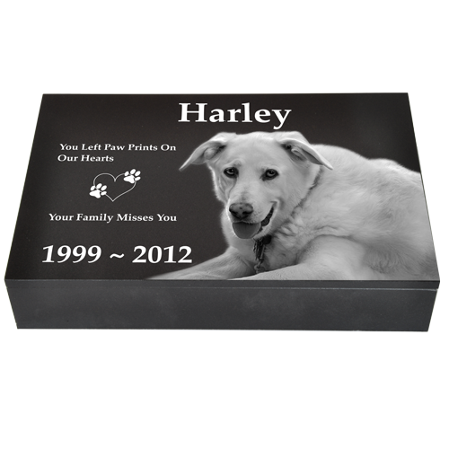 Granite Pet Photo Cremation Urn Pet Photo Laser Engraved Granite Flat Headstone-Cremation Urns-New Memorials-Afterlife Essentials