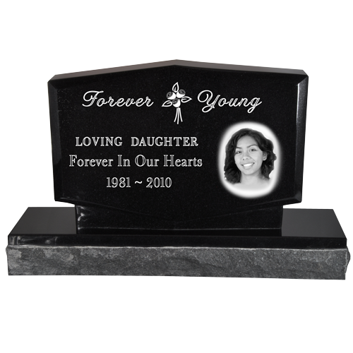 Photo Laser Engraved Granite Headstone- Diamond-Headstones-New Memorials-Afterlife Essentials