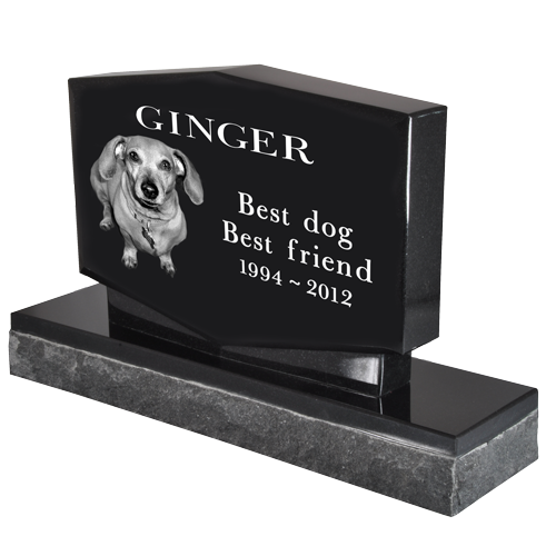 Pet Photo Laser Engraved Granite Headstone- Diamond-Headstones-New Memorials-Afterlife Essentials