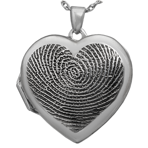 Heart Double Photo Locket Fingerprint Pendant Memorial Jewelry-Jewelry-New Memorials-Afterlife Essentials