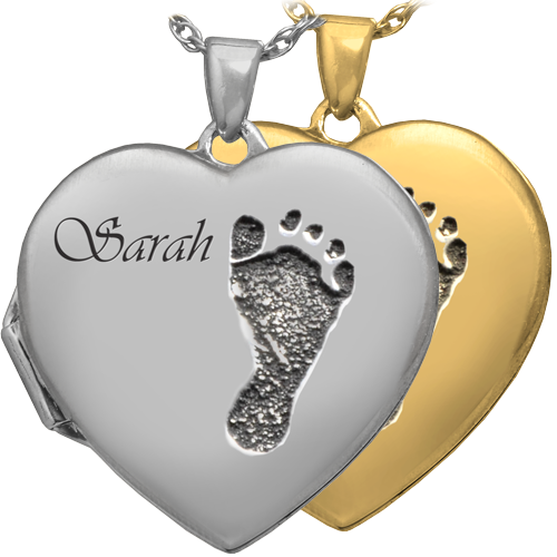 Heart Double Photo Locket Footprint Fingerprint Pendant Memorial Jewelry-Jewelry-New Memorials-Afterlife Essentials
