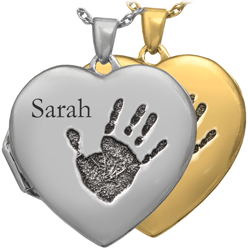 Heart Double Photo Locket Handprint Fingerprint Pendant Memorial Jewelry-Jewelry-New Memorials-Afterlife Essentials