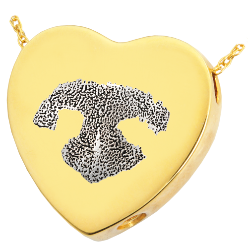 B&B Heart Actual Noseprint Pet Cremation Jewelry-Jewelry-New Memorials-14K Solid Yellow Gold (allow 4-5 weeks)-Chamber (for ashes)-Afterlife Essentials