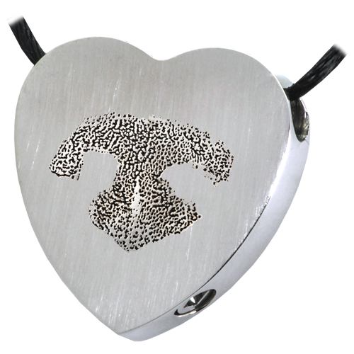 B&B Heart Actual Noseprint Pet Cremation Jewelry-Jewelry-New Memorials-Stainless Steel-Chamber (for ashes)-Afterlife Essentials