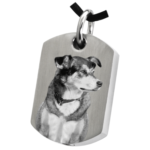 Dog Tag Pet Photo Pendant Cremation Jewelry-Jewelry-New Memorials-Stainless Steel-Chamber (For Ashes)-Free Black Satin Cord-Afterlife Essentials