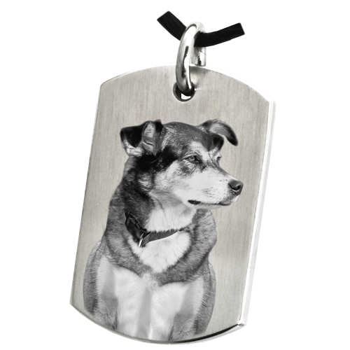 Dog Tag Pet Photo Pendant Cremation Jewelry-Jewelry-New Memorials-Stainless Steel-No Chamber (Flat)-Free Black Satin Cord-Afterlife Essentials