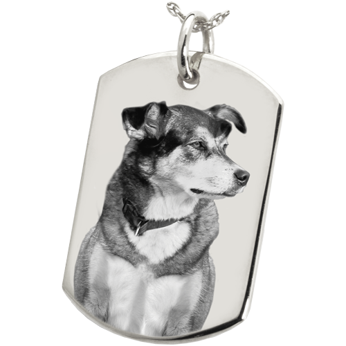 Dog Tag Pet Photo Pendant Cremation Jewelry-Jewelry-New Memorials-Sterling Silver-No Chamber (Flat)-Free Black Satin Cord-Afterlife Essentials