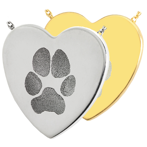 Heart Actual Pawprint Pet Pendant Cremation Jewelry-Jewelry-New Memorials-Afterlife Essentials