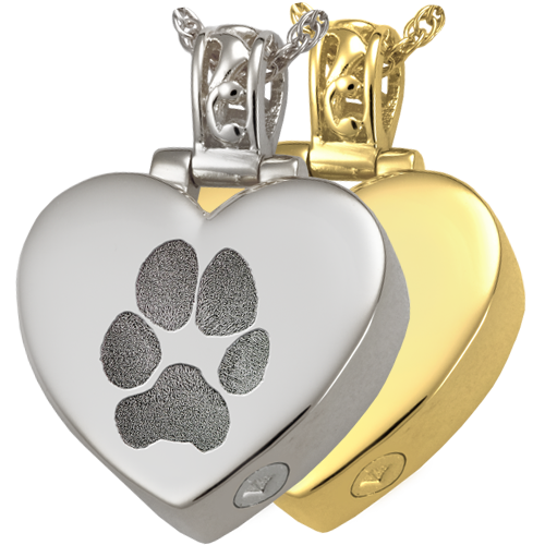 Heart Filigree Bail Actual Pawprint Pet Pendant Cremation Jewelry-Jewelry-New Memorials-Afterlife Essentials