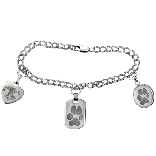 Sterling Double Link Charm Bracelet Pet Memorial Jewelry-Jewelry-New Memorials-Afterlife Essentials