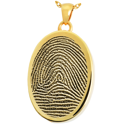 Oval Fingerprint Pendant Cremation Jewelry-Jewelry-New Memorials-14K Solid Yellow Gold (allow 4-5 weeks)-Rim-Chamber (for ashes)-Afterlife Essentials